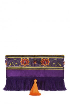 Ahu Kulach - Purple Orange Fringe Clutch