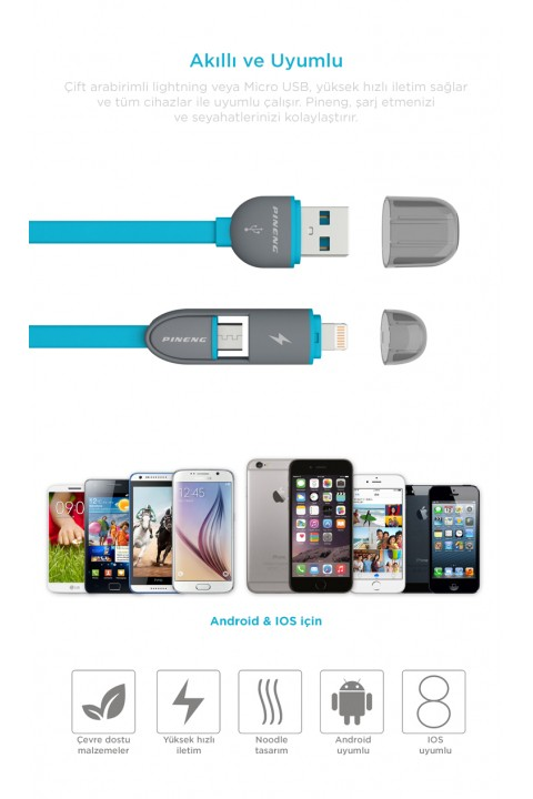 Pineng Pn-301 2 İn 1 Iphone Ve Usb -Gri