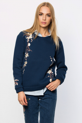 Lidyana Collection - Flow Ekru Aplikeli Lacivert Sweatshirt