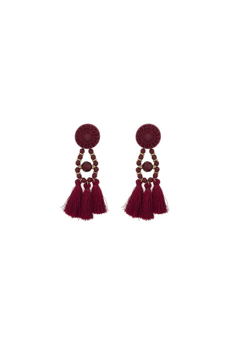 Lidyana Accessories Catalina Bordo Tassel Küpe