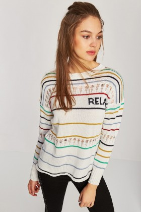 Lidyana Pop-Up Store - Flirly Çizgili Beyaz Sweatshirt