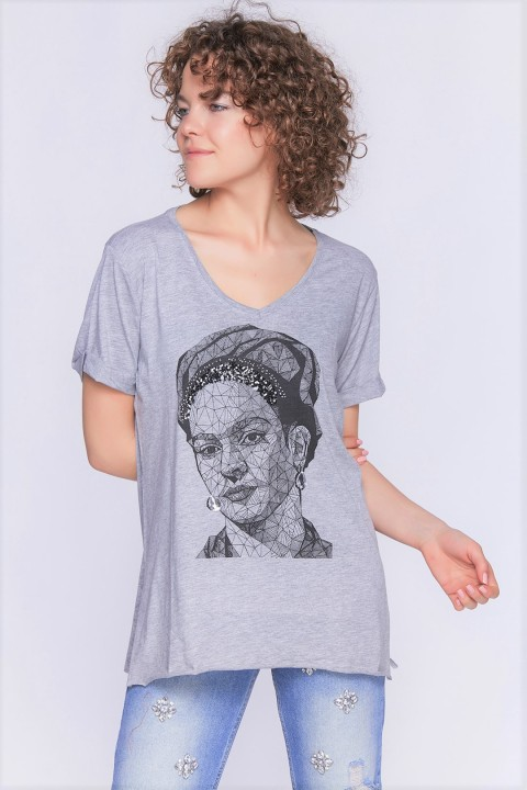 Lidyana Collection Bianca V Yaka Önü Baskılı Gri T-Shirt