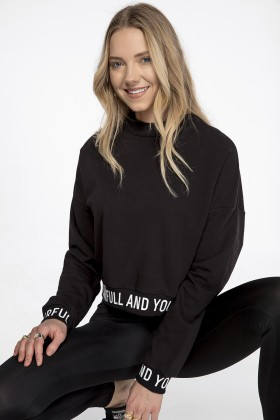 Lidyana Collection - Siyah Crop Powerful Sweatshirt