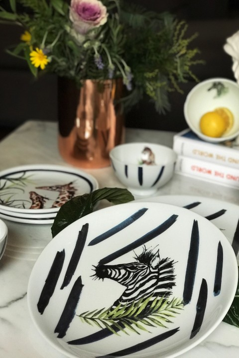 Fern&Co. Fern&Co 4'lu Serengeti Collection The Unique Zebra Buyuk Tabak Seti