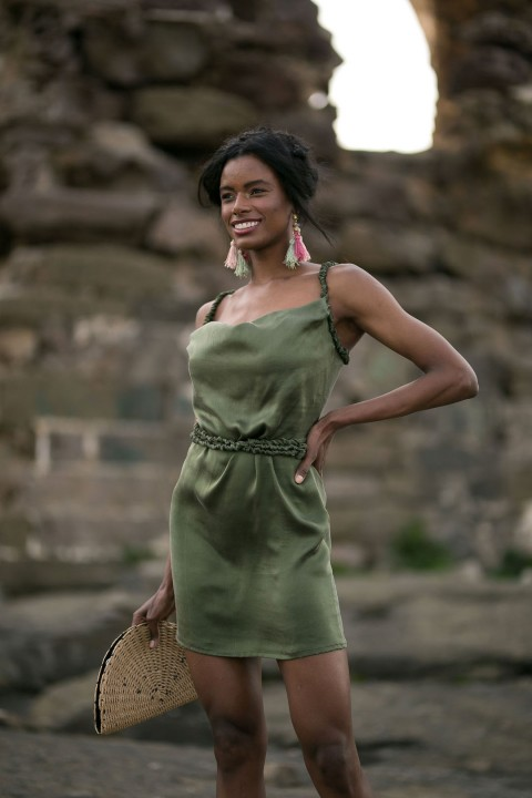 Betty & Sam Silk Dress Green