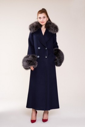 GIZIA - Fur Detailed Navy Blue Stamp Coat