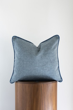 Phoenix Pillows - Blue Pillow With Piping Detail