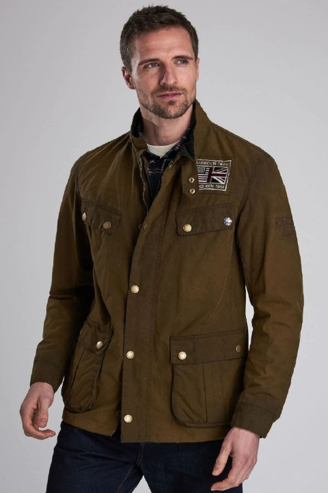 Barbour International B.Intl Lester Washed Wax Jacket  Olive
