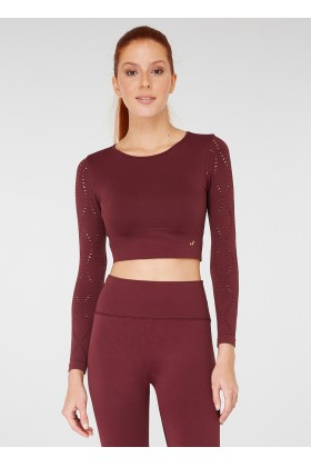 Jerf - Jerf Naples Uzun Kol Crop Top Econyl Bordo