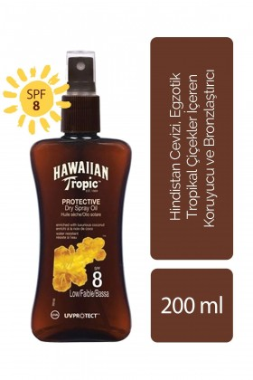 Hawaiian Tropic - Hawaiian Tropic Tropical Dry Spray Oil SPF8 UVProtect Coconut & Papaya 200 ml - Koruyucu ve Bronzlaş