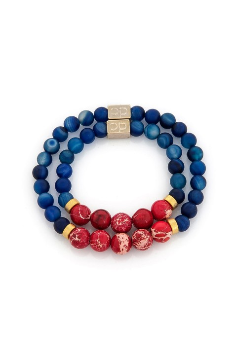 Delfince Delfince Father and Child Classic Blue and Red Bileklik